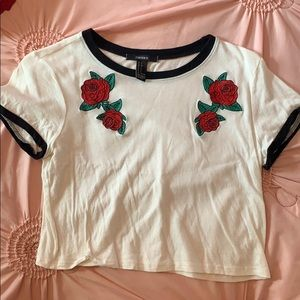 T-shirt with embroidered roses